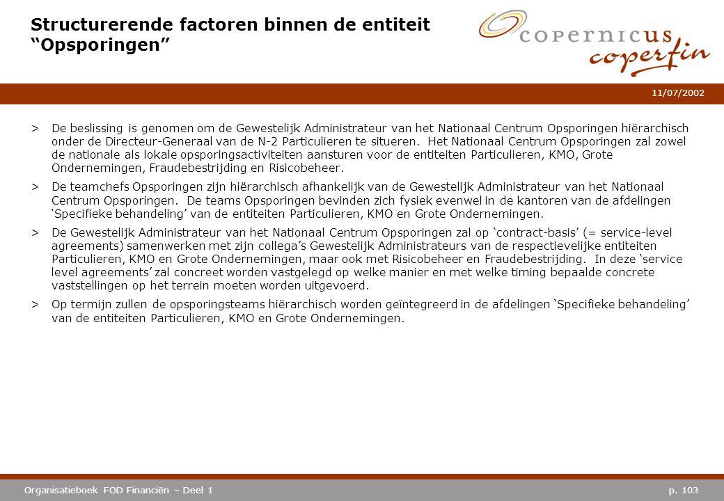 """p. 103Organisatieboek FOD Financiën – Deel 1 11/07/2002 Structurerende factoren binnen de entiteit """"Opsporingen"""" >De beslissing is genomen om de Gewes"""