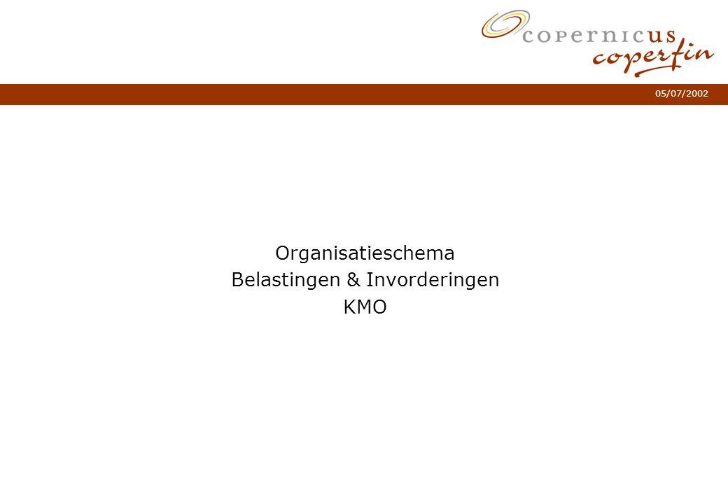 05/07/2002 Organisatieschema Belastingen & Invorderingen KMO