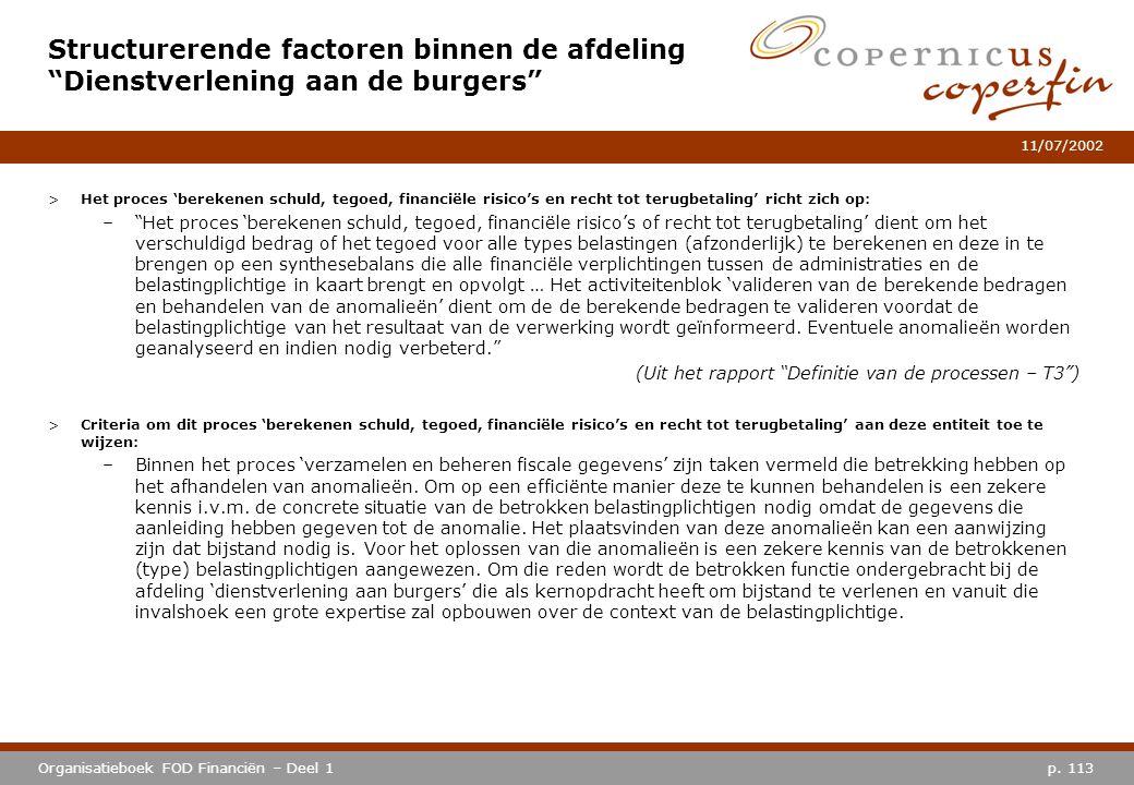p. 113Organisatieboek FOD Financiën – Deel 1 11/07/2002 >Het proces 'berekenen schuld, tegoed, financiële risico's en recht tot terugbetaling' richt z