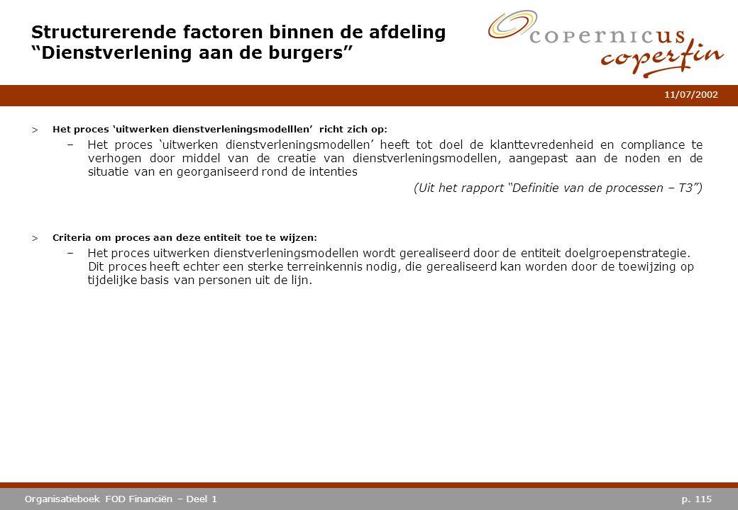 p. 115Organisatieboek FOD Financiën – Deel 1 11/07/2002 >Het proces 'uitwerken dienstverleningsmodelllen' richt zich op: –Het proces 'uitwerken dienst