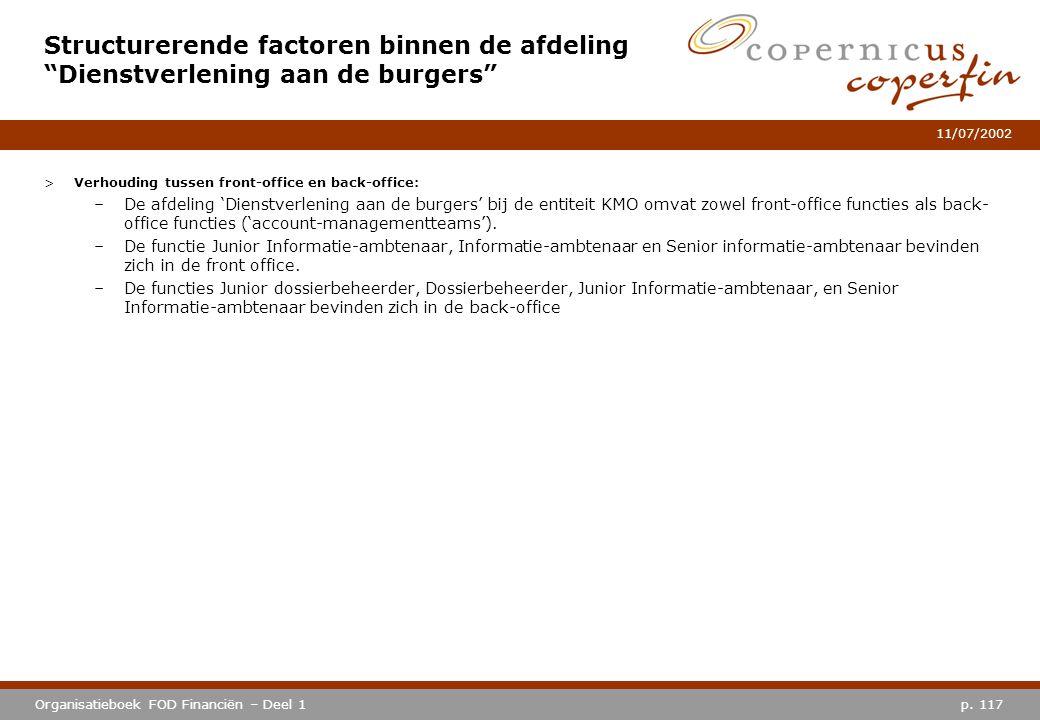 p. 117Organisatieboek FOD Financiën – Deel 1 11/07/2002 >Verhouding tussen front-office en back-office: –De afdeling 'Dienstverlening aan de burgers'