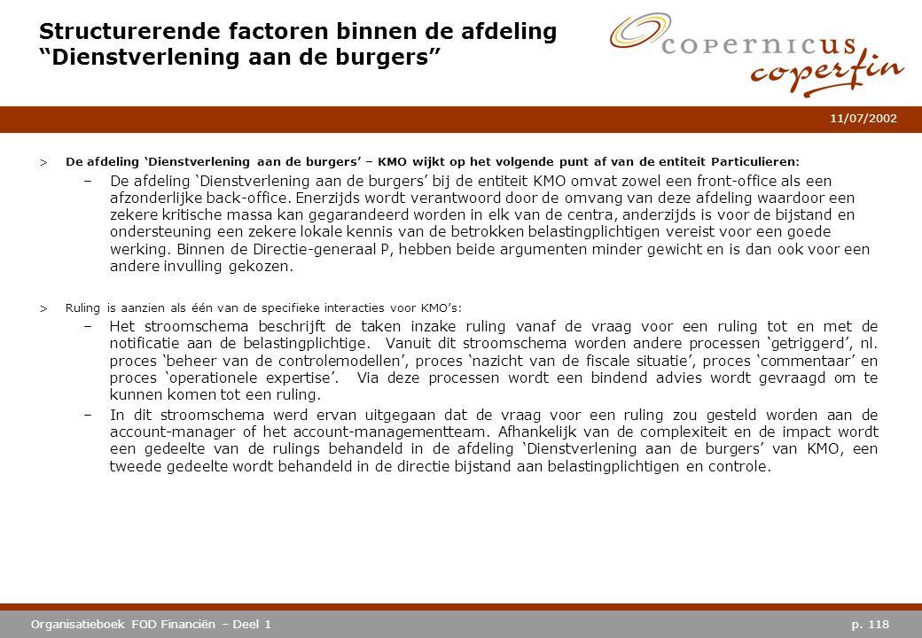"""p. 118Organisatieboek FOD Financiën – Deel 1 11/07/2002 Structurerende factoren binnen de afdeling """"Dienstverlening aan de burgers"""" >De afdeling 'Dien"""