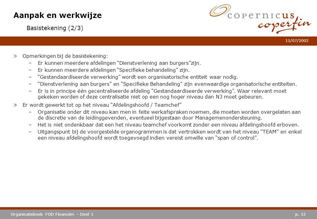 """p. 12Organisatieboek FOD Financiën – Deel 1 11/07/2002 Aanpak en werkwijze >Opmerkingen bij de basistekening: –Er kunnen meerdere afdelingen """"Dienstve"""