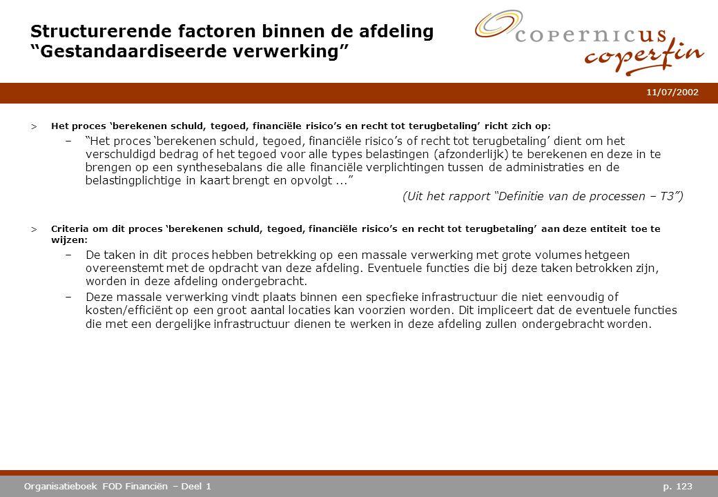 p. 123Organisatieboek FOD Financiën – Deel 1 11/07/2002 >Het proces 'berekenen schuld, tegoed, financiële risico's en recht tot terugbetaling' richt z