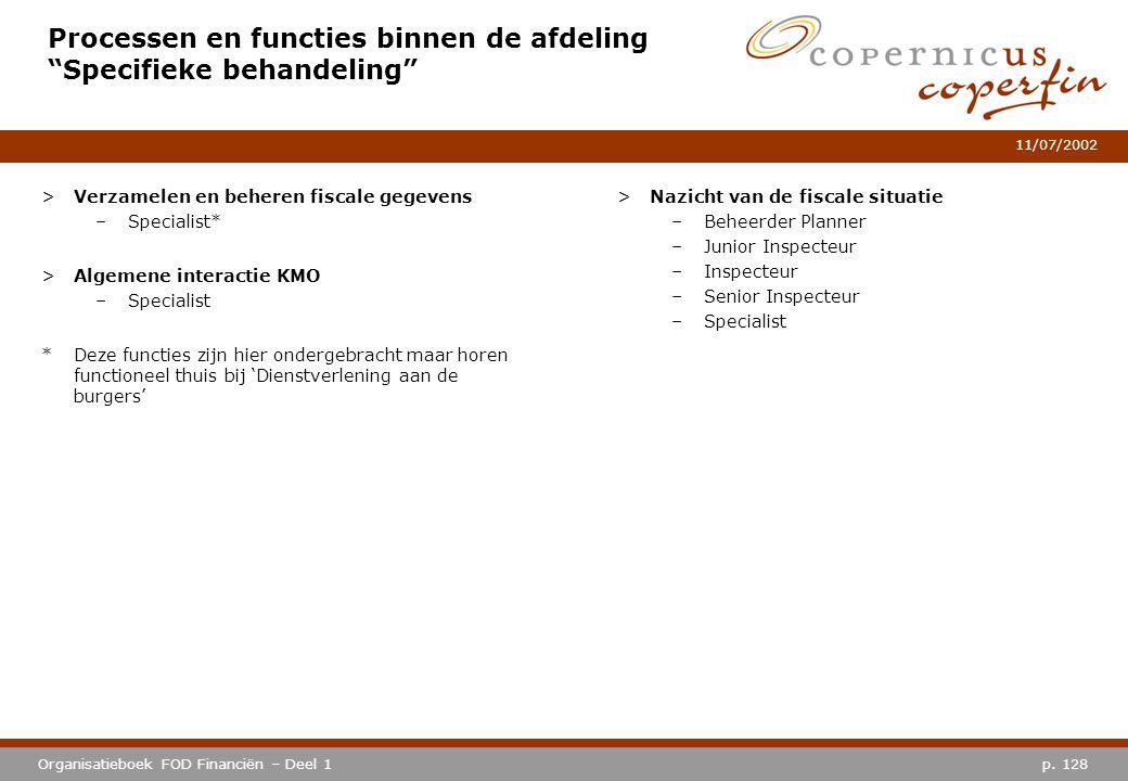 """p. 128Organisatieboek FOD Financiën – Deel 1 11/07/2002 Processen en functies binnen de afdeling """"Specifieke behandeling"""" >Verzamelen en beheren fisca"""