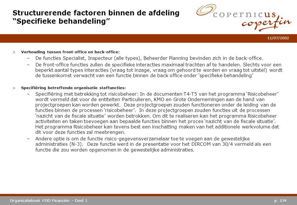p. 134Organisatieboek FOD Financiën – Deel 1 11/07/2002 >Verhouding tussen front-office en back-office: –De functies Specialist, Inspecteur (alle type