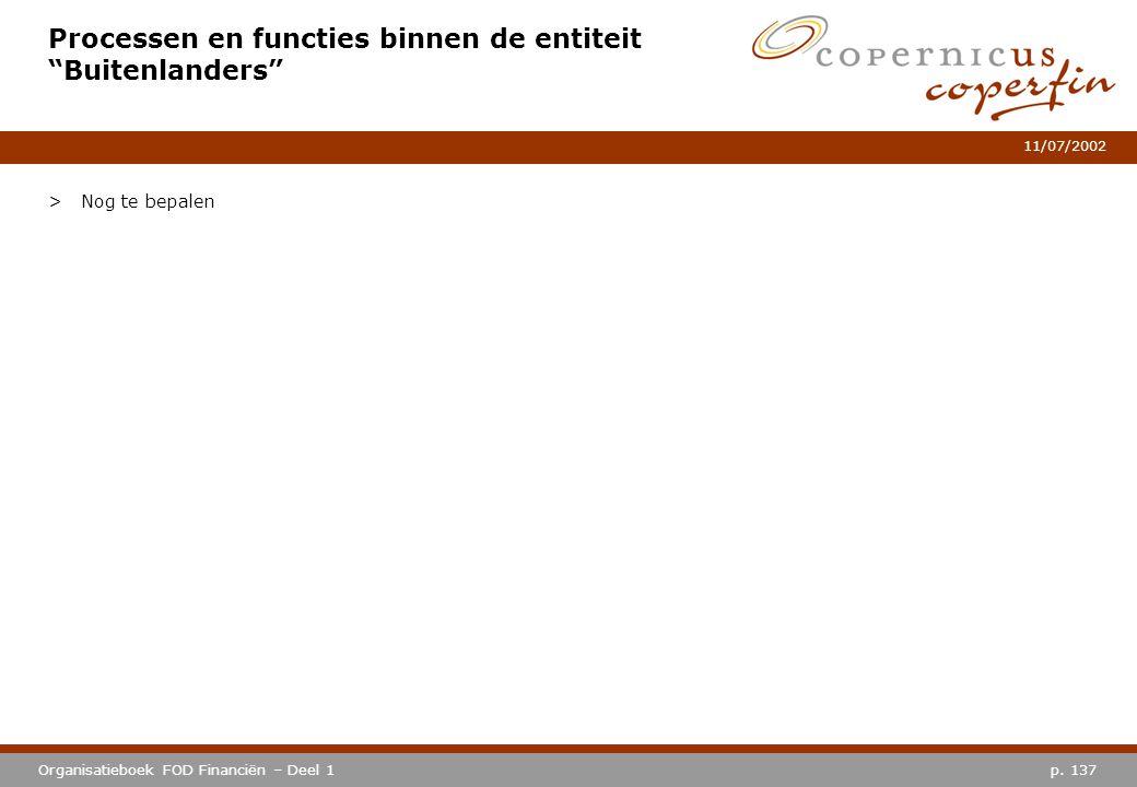 """p. 137Organisatieboek FOD Financiën – Deel 1 11/07/2002 Processen en functies binnen de entiteit """"Buitenlanders"""" >Nog te bepalen"""
