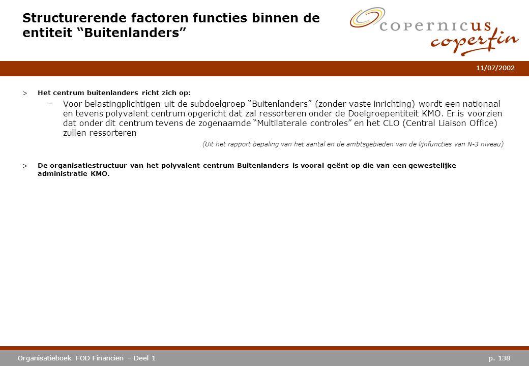 """p. 138Organisatieboek FOD Financiën – Deel 1 11/07/2002 Structurerende factoren functies binnen de entiteit """"Buitenlanders"""" >Het centrum buitenlanders"""