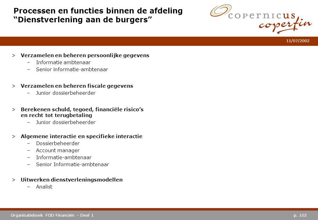 """p. 152Organisatieboek FOD Financiën – Deel 1 11/07/2002 Processen en functies binnen de afdeling """"Dienstverlening aan de burgers"""" >Verzamelen en beher"""