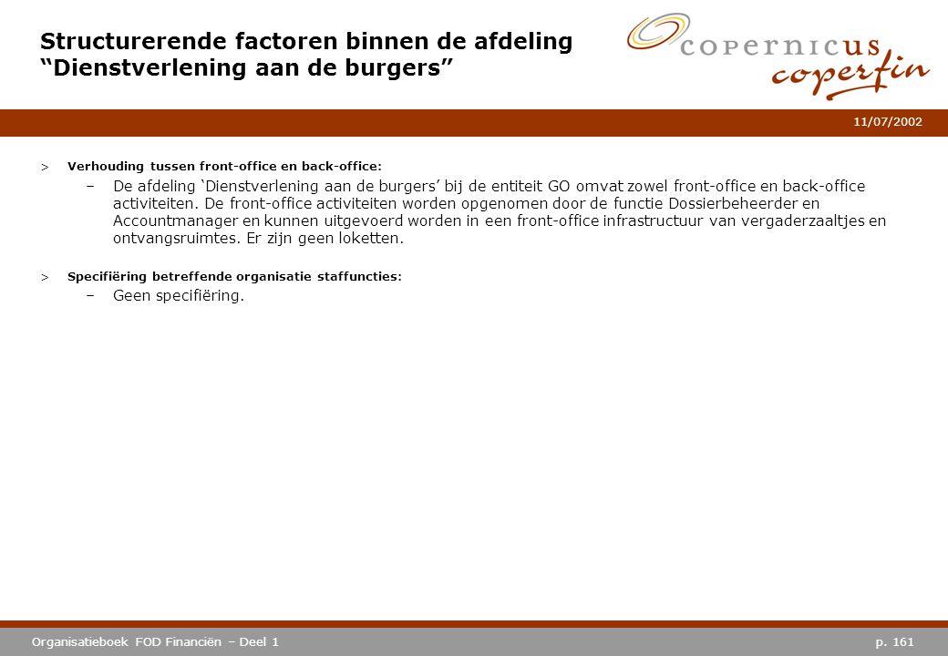 p. 161Organisatieboek FOD Financiën – Deel 1 11/07/2002 >Verhouding tussen front-office en back-office: –De afdeling 'Dienstverlening aan de burgers'