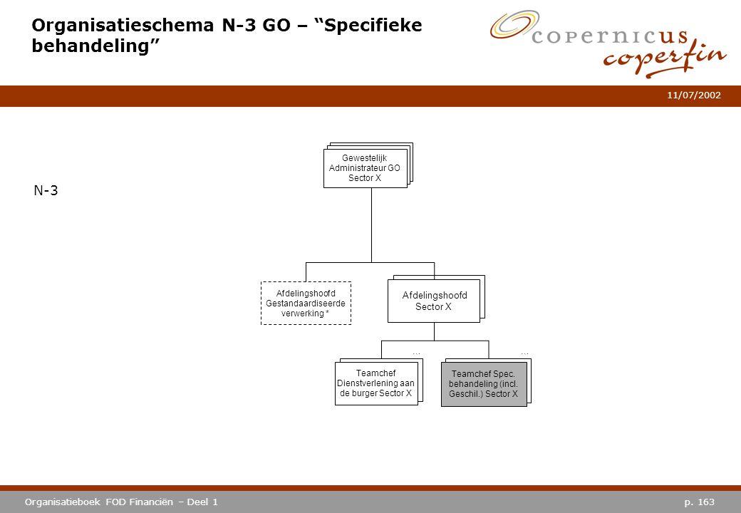 """p. 163Organisatieboek FOD Financiën – Deel 1 11/07/2002 Organisatieschema N-3 GO – """"Specifieke behandeling"""" N-3 Afdelingshoofd Sector X … Teamchef Die"""