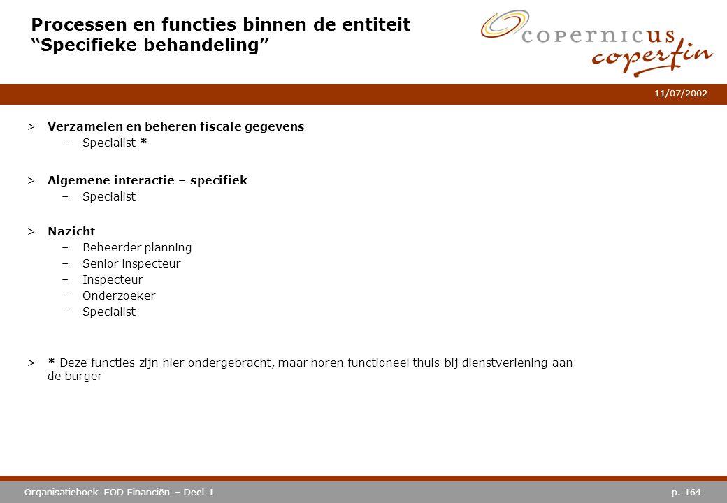 """p. 164Organisatieboek FOD Financiën – Deel 1 11/07/2002 Processen en functies binnen de entiteit """"Specifieke behandeling"""" >Verzamelen en beheren fisca"""