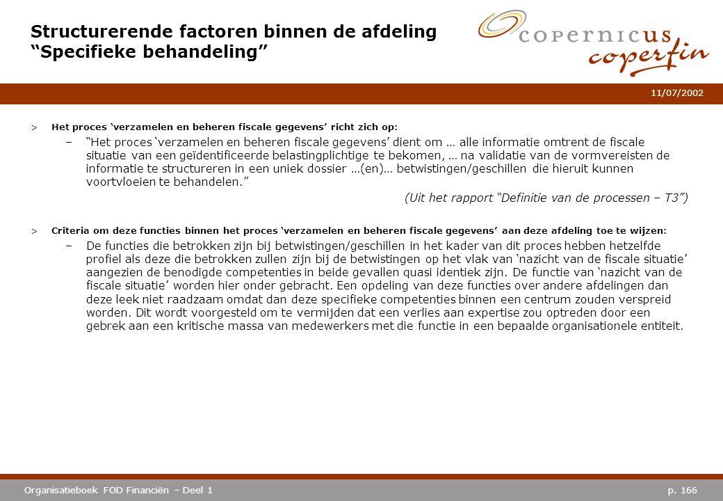 """p. 166Organisatieboek FOD Financiën – Deel 1 11/07/2002 >Het proces 'verzamelen en beheren fiscale gegevens' richt zich op: –""""Het proces 'verzamelen e"""