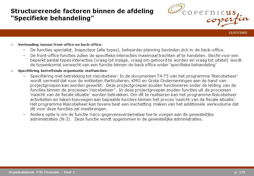 p. 170Organisatieboek FOD Financiën – Deel 1 11/07/2002 >Verhouding tussen front-office en back-office: –De functies specialist, Inspecteur (alle type