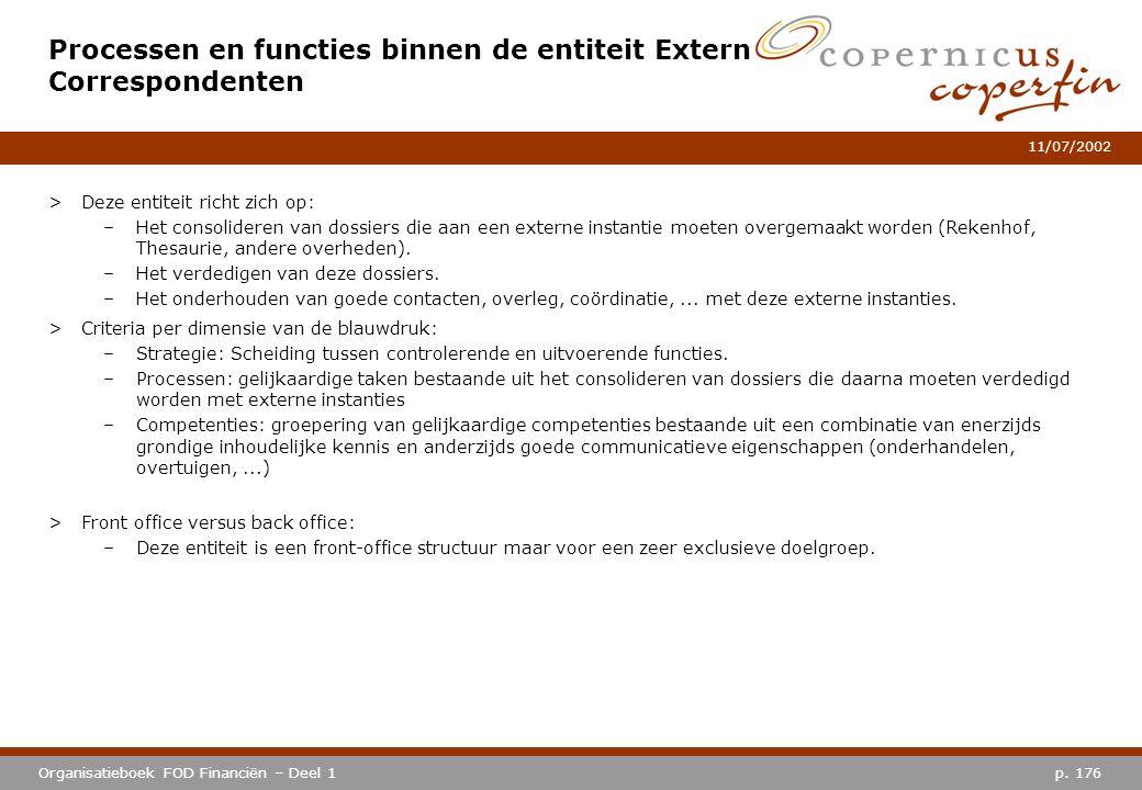 p. 176Organisatieboek FOD Financiën – Deel 1 11/07/2002 >Deze entiteit richt zich op: –Het consolideren van dossiers die aan een externe instantie moe