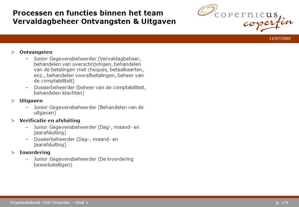 p. 179Organisatieboek FOD Financiën – Deel 1 11/07/2002 Processen en functies binnen het team Vervaldagbeheer Ontvangsten & Uitgaven >Ontvangsten –Jun