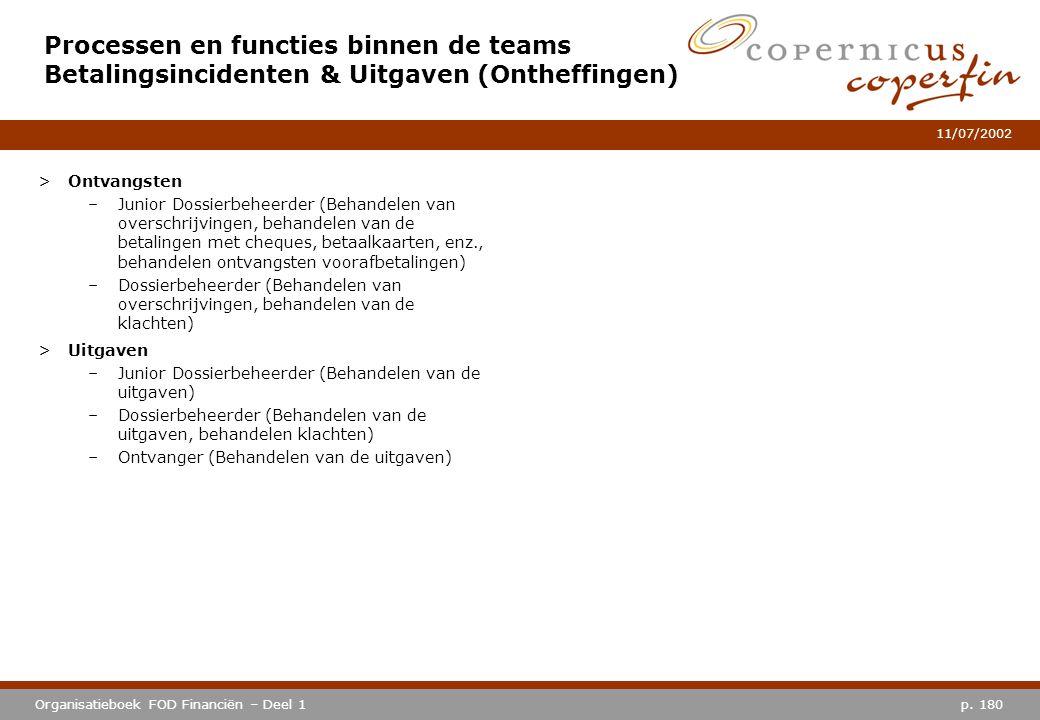 p. 180Organisatieboek FOD Financiën – Deel 1 11/07/2002 Processen en functies binnen de teams Betalingsincidenten & Uitgaven (Ontheffingen) >Ontvangst