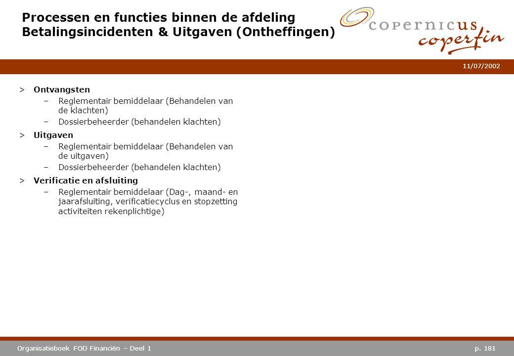 p. 181Organisatieboek FOD Financiën – Deel 1 11/07/2002 Processen en functies binnen de afdeling Betalingsincidenten & Uitgaven (Ontheffingen) >Ontvan