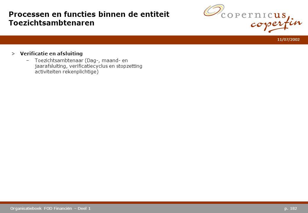 p. 182Organisatieboek FOD Financiën – Deel 1 11/07/2002 Processen en functies binnen de entiteit Toezichtsambtenaren >Verificatie en afsluiting –Toezi