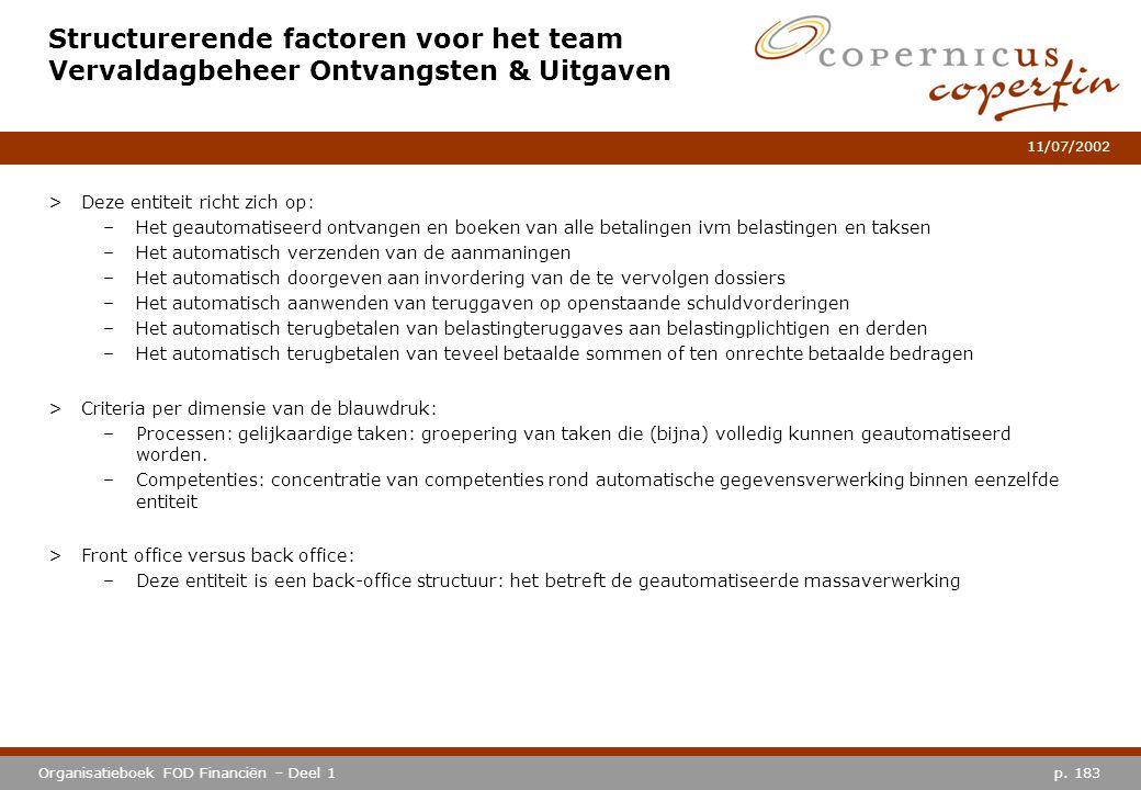 p. 183Organisatieboek FOD Financiën – Deel 1 11/07/2002 Structurerende factoren voor het team Vervaldagbeheer Ontvangsten & Uitgaven >Deze entiteit ri