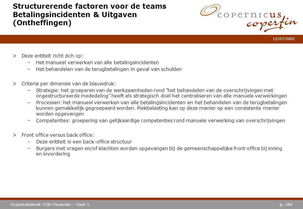 p. 184Organisatieboek FOD Financiën – Deel 1 11/07/2002 Structurerende factoren voor de teams Betalingsincidenten & Uitgaven (Ontheffingen) >Deze enti