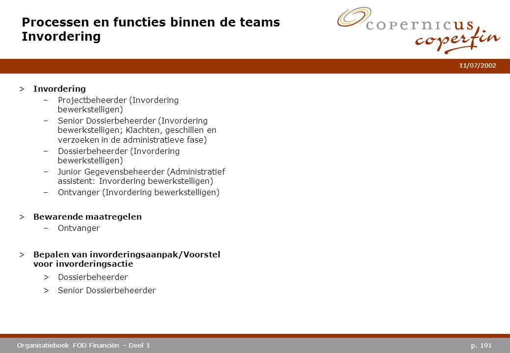 p. 191Organisatieboek FOD Financiën – Deel 1 11/07/2002 Processen en functies binnen de teams Invordering >Invordering –Projectbeheerder (Invordering
