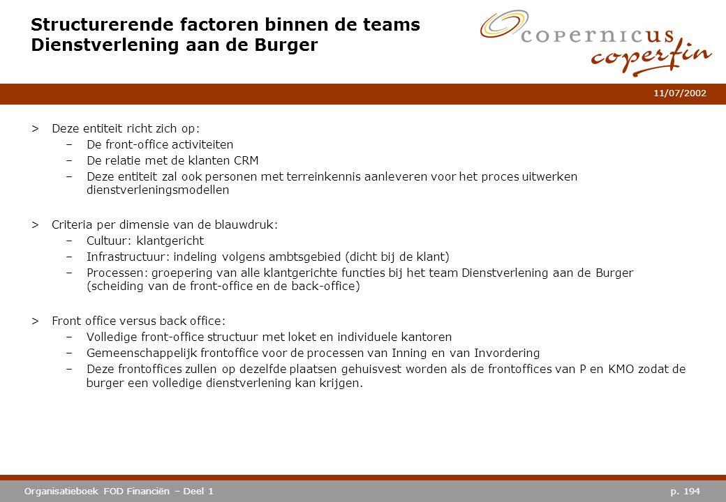 p. 194Organisatieboek FOD Financiën – Deel 1 11/07/2002 Structurerende factoren binnen de teams Dienstverlening aan de Burger >Deze entiteit richt zic