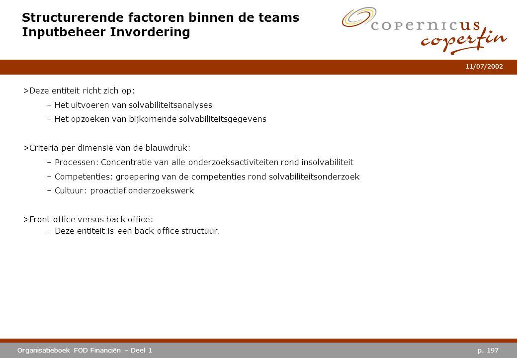 p. 197Organisatieboek FOD Financiën – Deel 1 11/07/2002 Structurerende factoren binnen de teams Inputbeheer Invordering >Deze entiteit richt zich op: