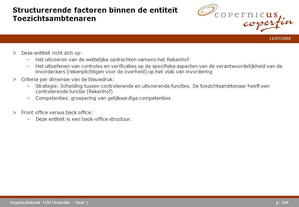 p. 198Organisatieboek FOD Financiën – Deel 1 11/07/2002 Structurerende factoren binnen de entiteit Toezichtsambtenaren >Deze entiteit richt zich op: –