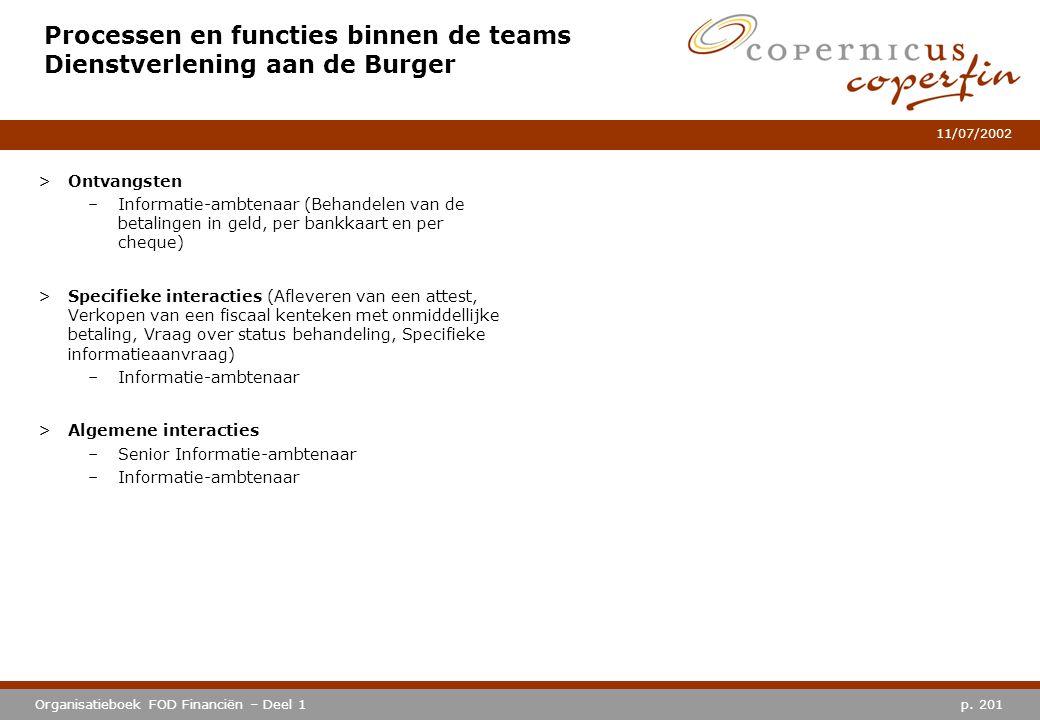 p. 201Organisatieboek FOD Financiën – Deel 1 11/07/2002 Processen en functies binnen de teams Dienstverlening aan de Burger >Ontvangsten –Informatie-a