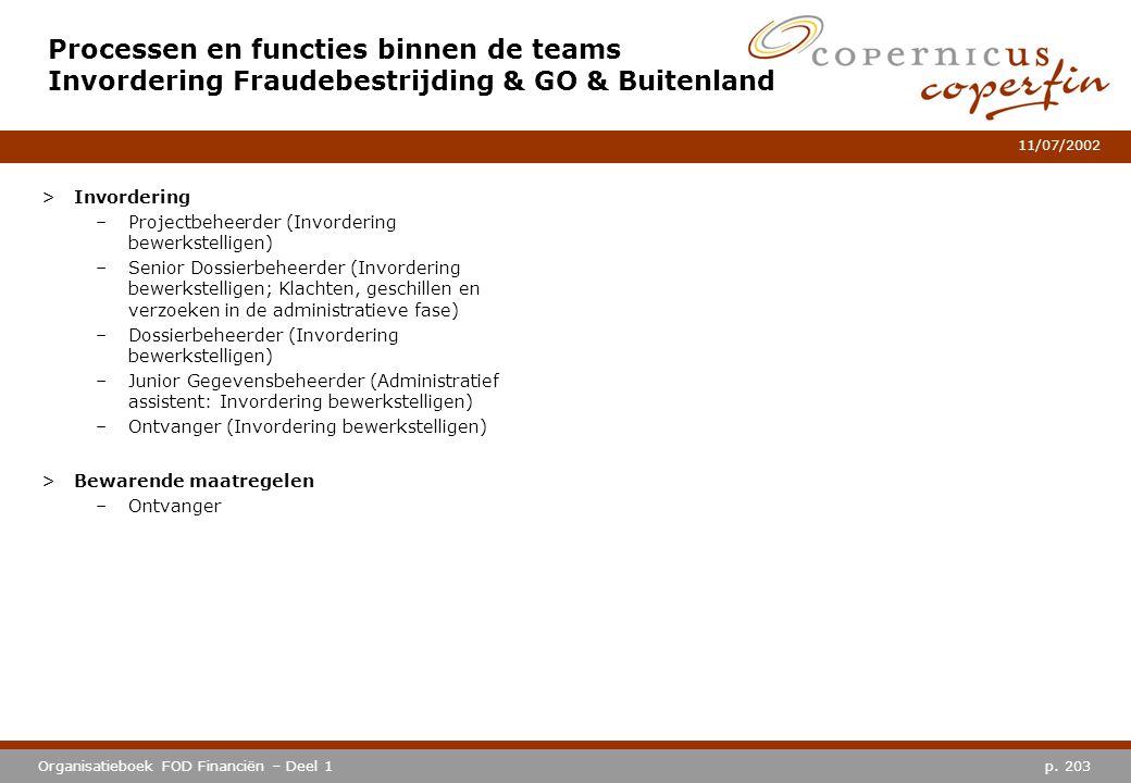 p. 203Organisatieboek FOD Financiën – Deel 1 11/07/2002 Processen en functies binnen de teams Invordering Fraudebestrijding & GO & Buitenland >Invorde