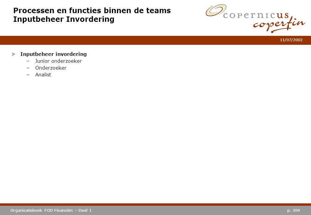 p. 204Organisatieboek FOD Financiën – Deel 1 11/07/2002 Processen en functies binnen de teams Inputbeheer Invordering >Inputbeheer invordering –Junior