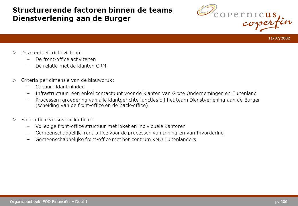 p. 206Organisatieboek FOD Financiën – Deel 1 11/07/2002 Structurerende factoren binnen de teams Dienstverlening aan de Burger >Deze entiteit richt zic