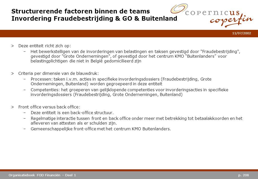 p. 208Organisatieboek FOD Financiën – Deel 1 11/07/2002 Structurerende factoren binnen de teams Invordering Fraudebestrijding & GO & Buitenland >Deze