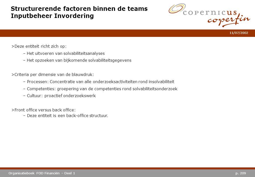 p. 209Organisatieboek FOD Financiën – Deel 1 11/07/2002 Structurerende factoren binnen de teams Inputbeheer Invordering >Deze entiteit richt zich op: