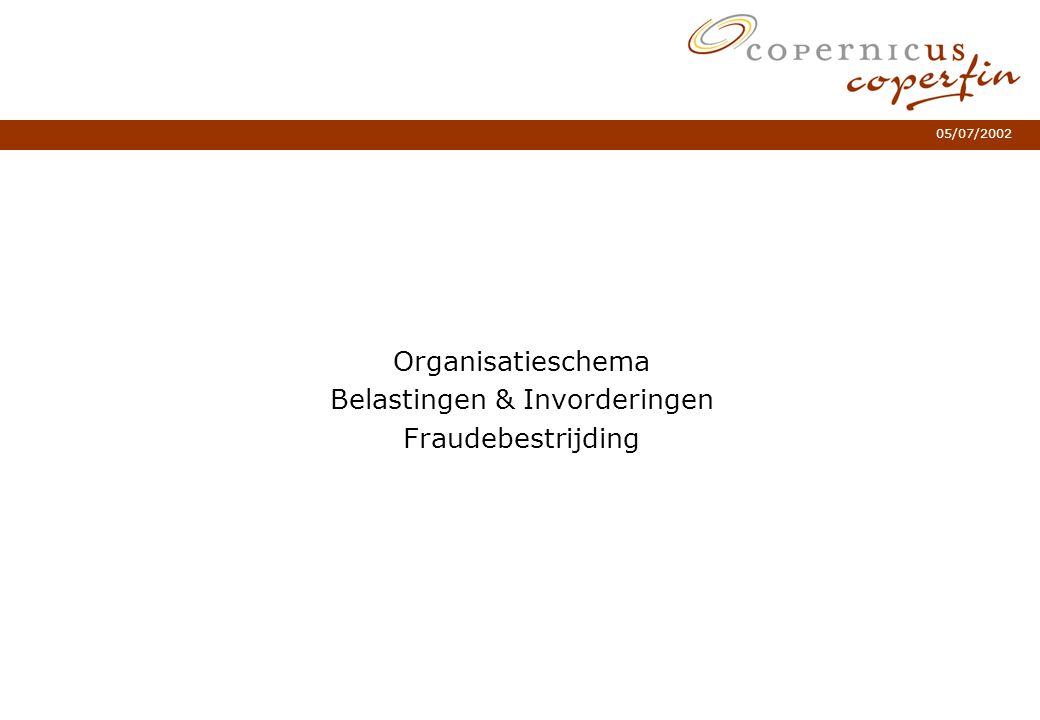 05/07/2002 Organisatieschema Belastingen & Invorderingen Fraudebestrijding