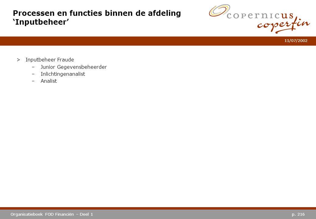 p. 216Organisatieboek FOD Financiën – Deel 1 11/07/2002 Processen en functies binnen de afdeling 'Inputbeheer' >Inputbeheer Fraude –Junior Gegevensbeh