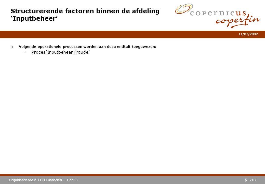 p. 218Organisatieboek FOD Financiën – Deel 1 11/07/2002 Structurerende factoren binnen de afdeling 'Inputbeheer' >Volgende operationele processen word
