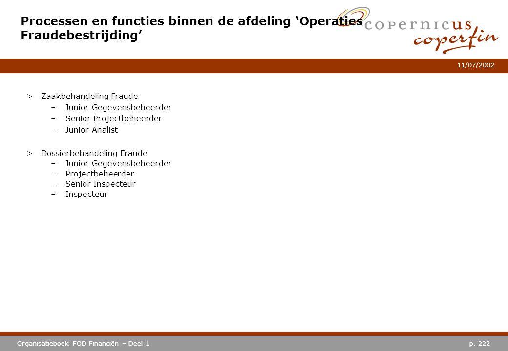 p. 222Organisatieboek FOD Financiën – Deel 1 11/07/2002 Processen en functies binnen de afdeling 'Operaties Fraudebestrijding' >Zaakbehandeling Fraude