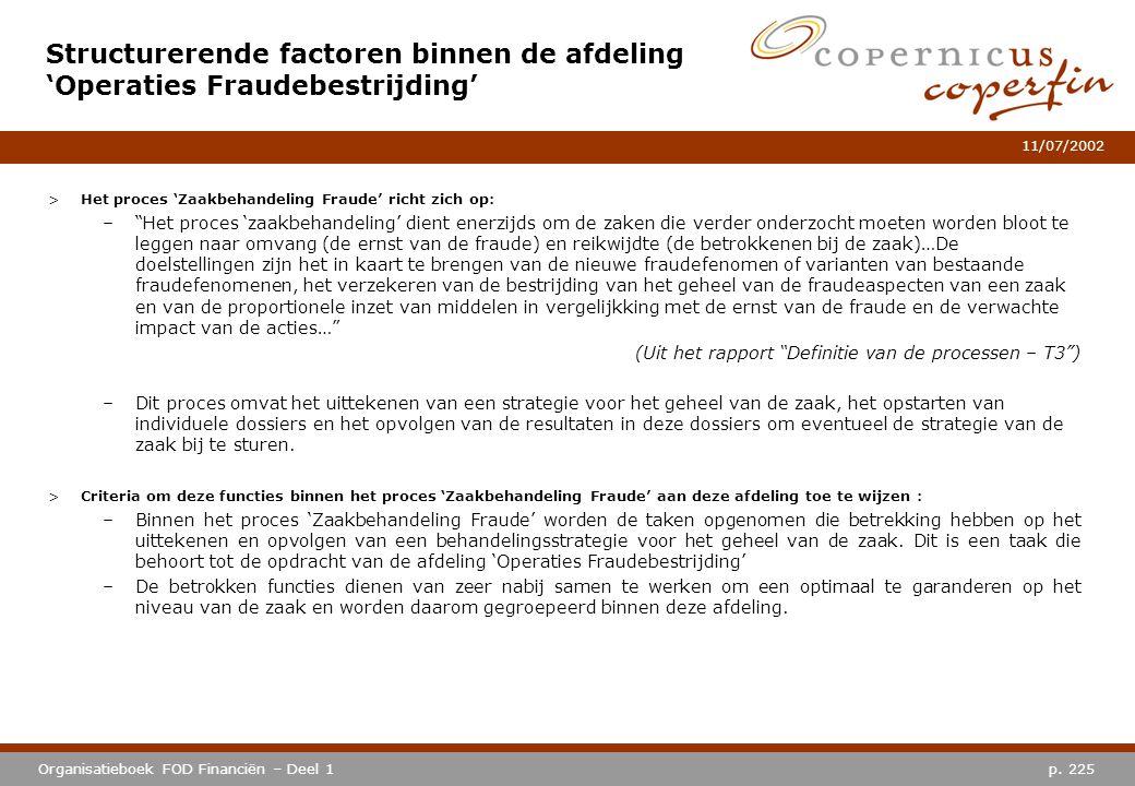 p. 225Organisatieboek FOD Financiën – Deel 1 11/07/2002 Structurerende factoren binnen de afdeling 'Operaties Fraudebestrijding' >Het proces 'Zaakbeha