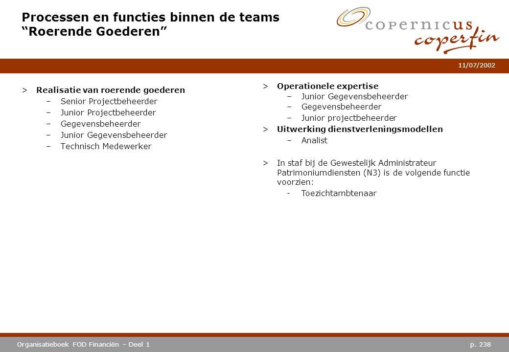 """p. 238Organisatieboek FOD Financiën – Deel 1 11/07/2002 Processen en functies binnen de teams """"Roerende Goederen"""" >Realisatie van roerende goederen –S"""