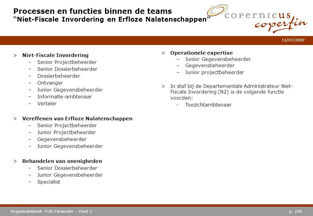 """p. 239Organisatieboek FOD Financiën – Deel 1 11/07/2002 Processen en functies binnen de teams """"Niet-Fiscale Invordering en Erfloze Nalatenschappen"""" >N"""