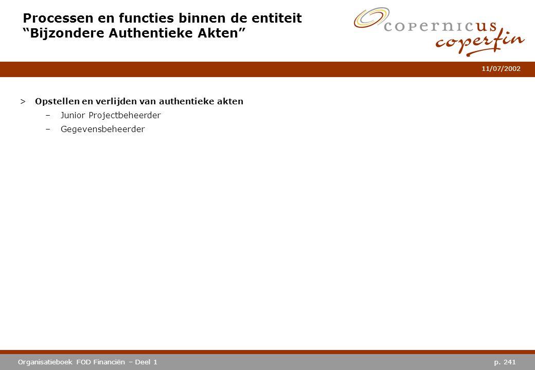 p. 241Organisatieboek FOD Financiën – Deel 1 11/07/2002 >Opstellen en verlijden van authentieke akten –Junior Projectbeheerder –Gegevensbeheerder Proc