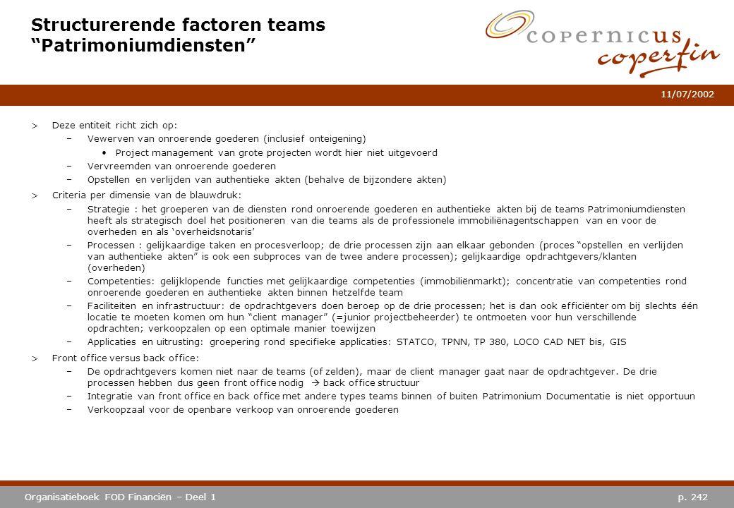 """p. 242Organisatieboek FOD Financiën – Deel 1 11/07/2002 Structurerende factoren teams """"Patrimoniumdiensten"""" >Deze entiteit richt zich op: –Vewerven va"""