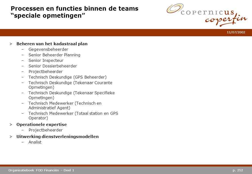 """p. 252Organisatieboek FOD Financiën – Deel 1 11/07/2002 Processen en functies binnen de teams """"speciale opmetingen"""" >Beheren van het kadastraal plan –"""