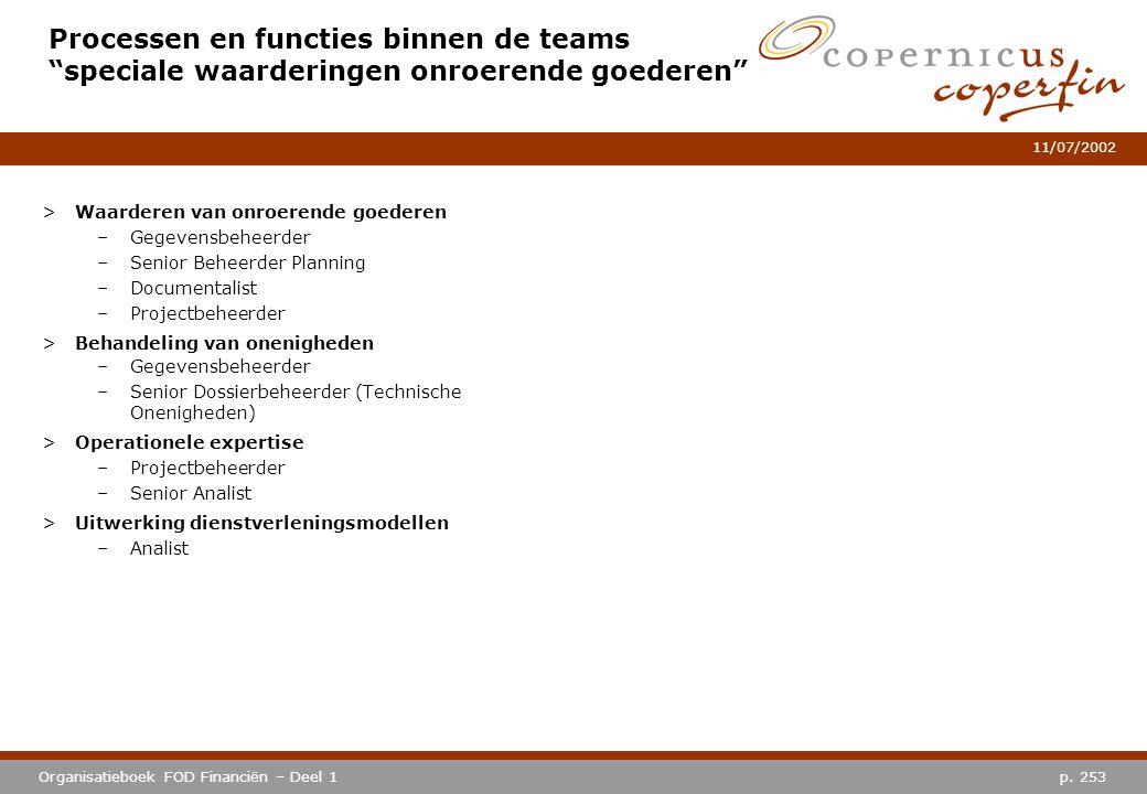 """p. 253Organisatieboek FOD Financiën – Deel 1 11/07/2002 Processen en functies binnen de teams """"speciale waarderingen onroerende goederen"""" >Waarderen v"""