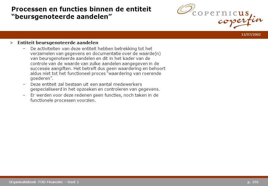 """p. 255Organisatieboek FOD Financiën – Deel 1 11/07/2002 Processen en functies binnen de entiteit """"beursgenoteerde aandelen"""" >Entiteit beursgenoteerde"""