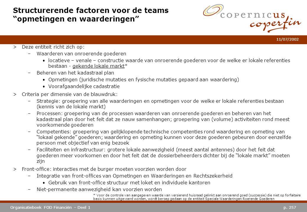 """p. 257Organisatieboek FOD Financiën – Deel 1 11/07/2002 Structurerende factoren voor de teams """"opmetingen en waarderingen"""" >Deze entiteit richt zich o"""