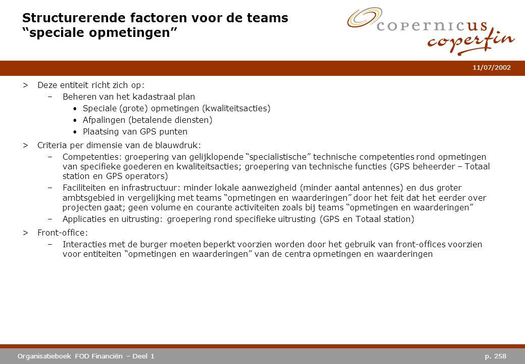 """p. 258Organisatieboek FOD Financiën – Deel 1 11/07/2002 Structurerende factoren voor de teams """"speciale opmetingen"""" >Deze entiteit richt zich op: –Beh"""
