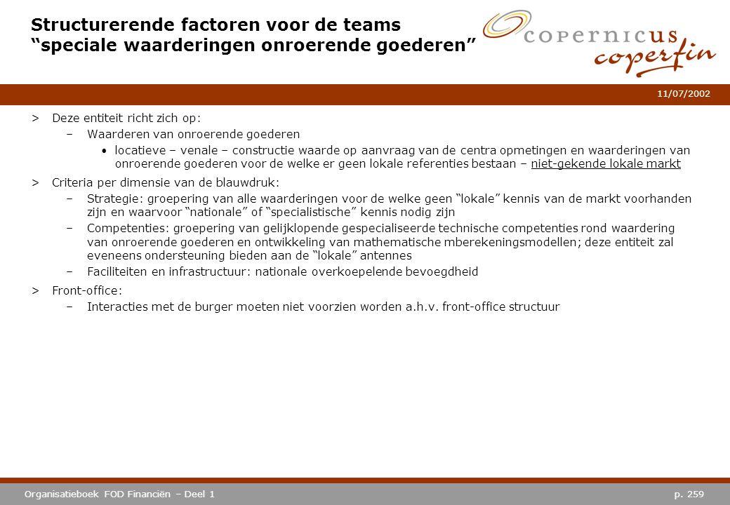 """p. 259Organisatieboek FOD Financiën – Deel 1 11/07/2002 Structurerende factoren voor de teams """"speciale waarderingen onroerende goederen"""" >Deze entite"""